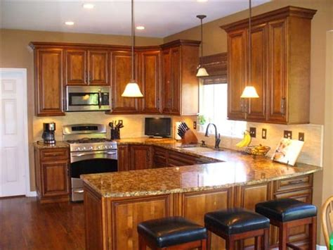 burnished cherry cabinets granite countertops tile