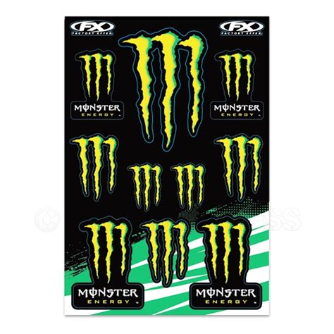 Gratis Aufkleber Monster Energy by Factory Effex Universal Monster Energy Sticker Sheet