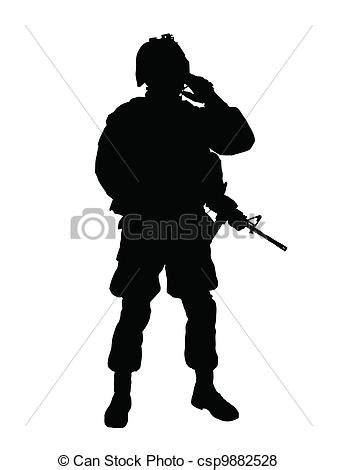 silhouette of us soldier with rifle (vector image) vector