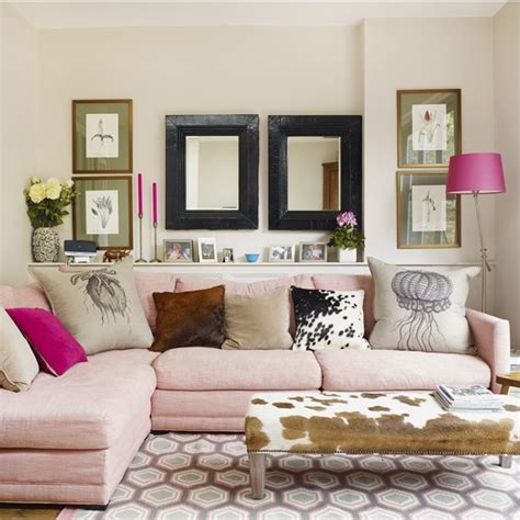 Pink Couches Living Room by Traditional Living Room With Pink Sofa And Animal Print