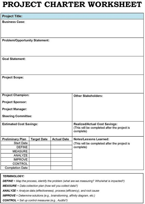 pmi business template project charter templates search project