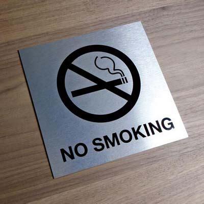 no smoking sign metal brushed metal no smoking signs custom office signage