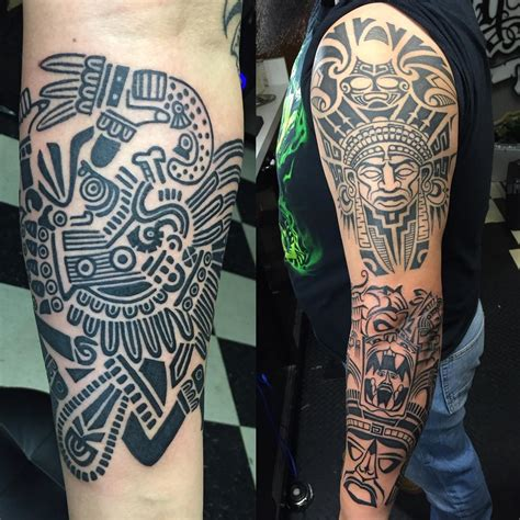 adding to a tribal tattoo aztec tribal sleeve tattoos www pixshark images