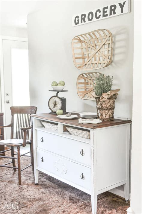 farmhouse style buffet table dining room sideboard made from antique dresser