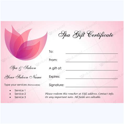 free spa gift certificate template printable 50 spa gift certificate designs to try this season