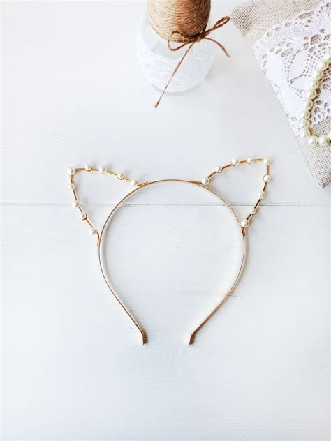ears headband gold or silver pearl cat ears headband cat ears