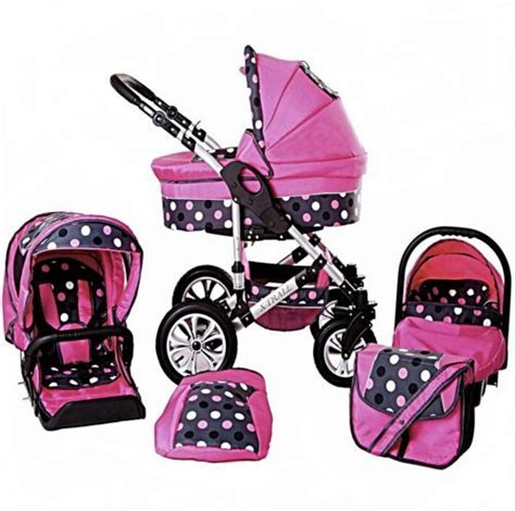 3in1 Maxi Polka baby pram pushchair swivel wheels x trall 3in1 car seat