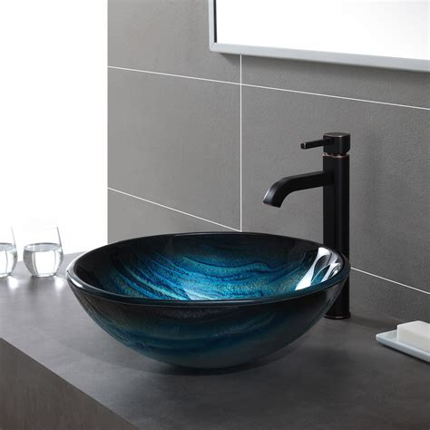 glass vessel bathroom sink kraus ladon glass vessel sink reviews wayfair
