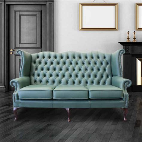 high couch green chesterfield 3 seater high back wing sofa