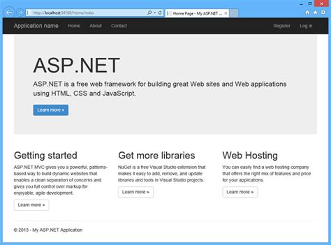 login page in asp net template creating asp net web projects in visual studio 2013