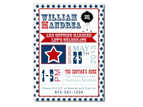 in july wedding shower invitations patriotic bbq themed invitation wedding invitation