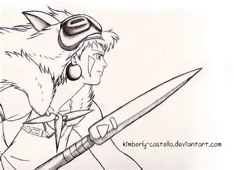 Princess Mononoke Line Art By Kimberly Castello On Deviantart Princess Mononoke Coloring Pages Free Coloring Sheets