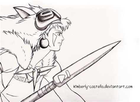 princess mononoke coloring pages princess mononoke line art by kimberly castello on deviantart