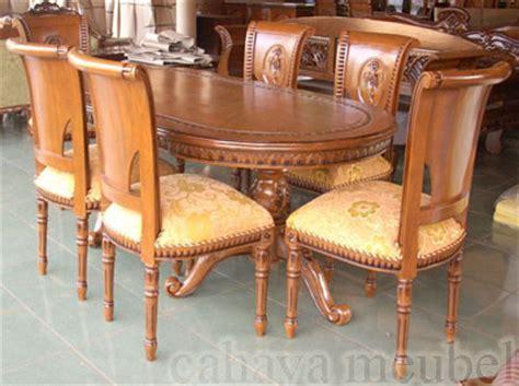 Meja Makan Jepara 6 Kursi meja makan salina 6 kursi kayu jati ukiran jepara cahaya