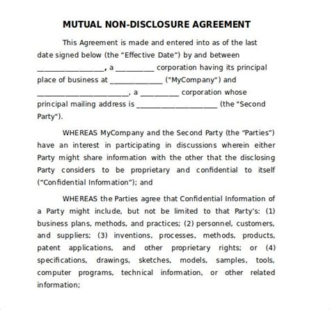 Non Disclosure Agreement Template Screenshoot Runnerswebsite Artist Non Disclosure Agreement Template