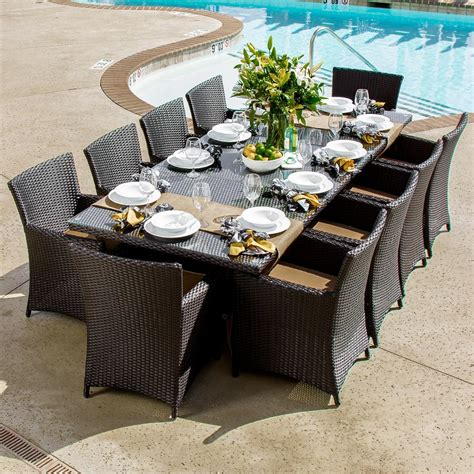 resin wicker patio dining set avery island 10 person resin wicker patio dining set with