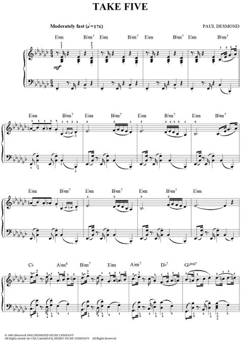 tutorial piano take five take five sheet music music for piano and more