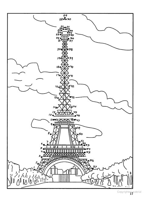 Eiffel Tower Dot To Dot Printable eiffle tower dot to dot for madeline five in a row the