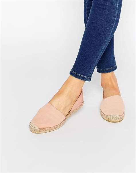 Flatshoes Pink image 1 of pieces jasha nued pink leather espadrille two