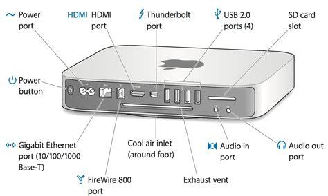 mac mini firewire mac mini mid 2011 external ports and connectors apple