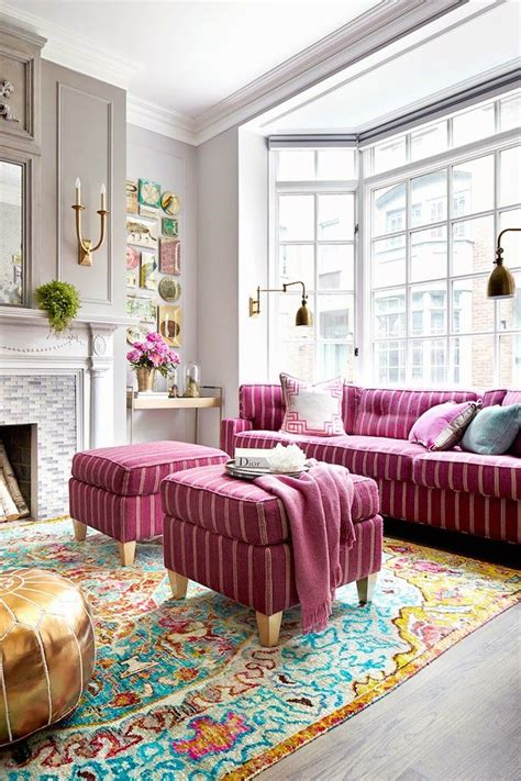 colorful settee pink sofas an unexpected touch of color in the living room