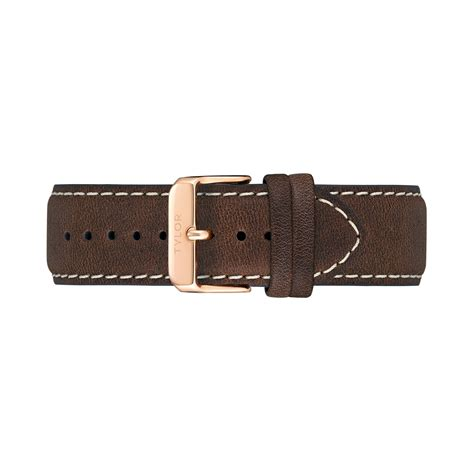 Ac 8492 Rosegold Brown Leather oakwood brown gold 22mm tlb ac004