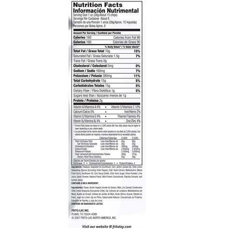 lay s limon chips nutrition facts nutrition ftempo