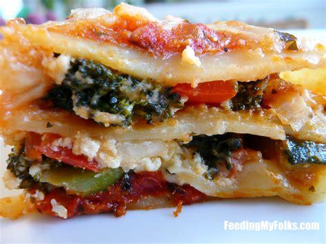 vegetable lasagna feeding my folks