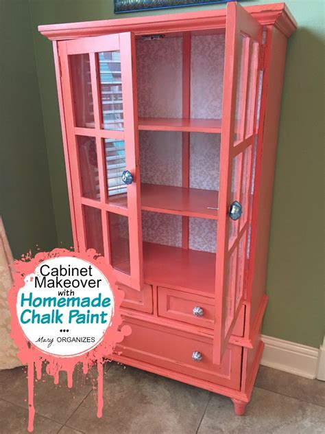 how to paint a cabinet with chalk paint my cabinet makeover in coral how to do homemade chalk