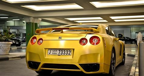 gold nissan car matte gold nissan r35 gt r rear view no car no