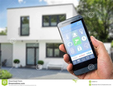 smartphone home automation smart home device home control stock illustration image 53838112