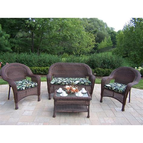 Resin Patio Furniture Sets Shop Oakland Living Resin Wicker 4 Wicker Frame Patio Conversation Set With Black Floral