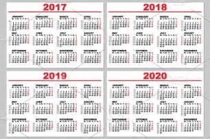 Laos Calendã 2018 Set Grid Wall Calendar For 2017 2020 Illustrations