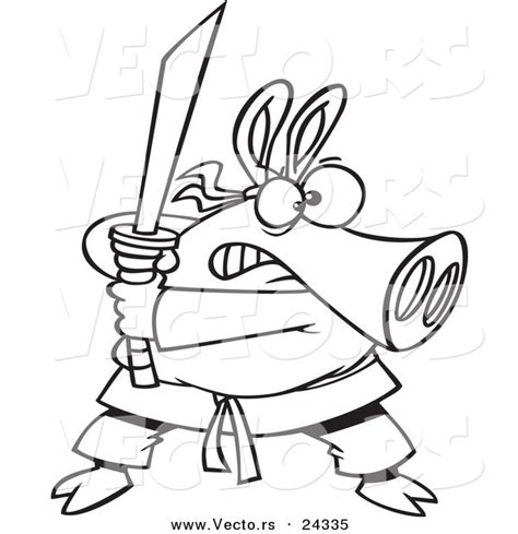 three ninja pigs coloring page vector of a cartoon ninja pig with sword outlined