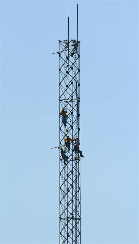 radio tower worker rescued after climbing radio tower at los flores