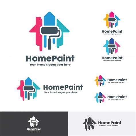 home decoration company house paint logo home decoration company identity vector