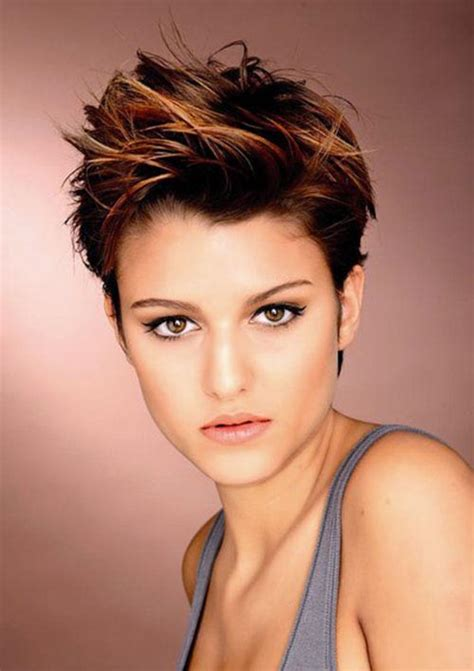 short pixie cut caramel copper highlights in brown hair copper hair hair