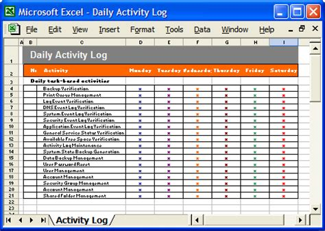 excel template for daily tasks best photos of daily task log template daily log sheet