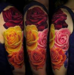 4 colored rose flowers 3d tattoo ideas tattoo designs