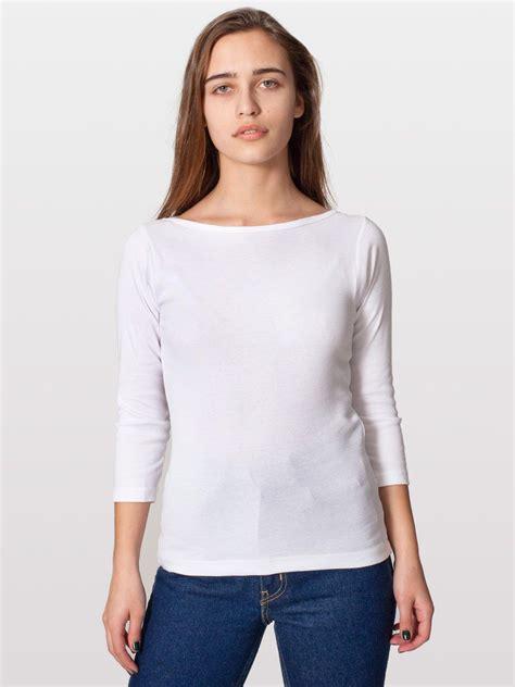 Sleeve Neck american apparel baby rib 3 4 sleeve boat neck evan