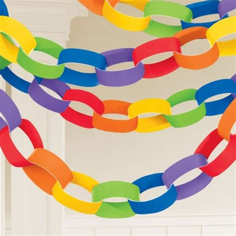 Paper Chains - rainbow paper chain garland decoration 3 9m