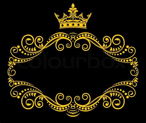Vintage Antique Home Decor by Retro Frame With Royal Crown Stock Vector Colourbox
