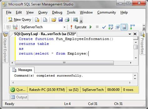 Table Valued Function In Sql Server by Table Valued Function