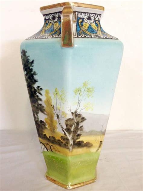 Vintage Deco Vases by Antique Deco Noritake Morimura Vase Signed For Sale