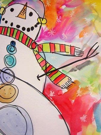 christmas art ideas for second grade class grade 2 worm s eye view of snowman like the use of pastel resist plus the brightness of the