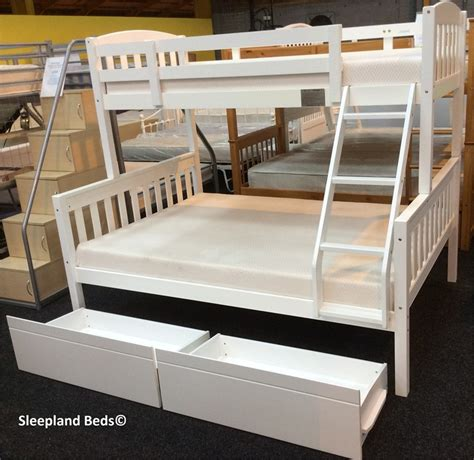 triple bed cola white wooden triple sleeper bunk bed with two storage