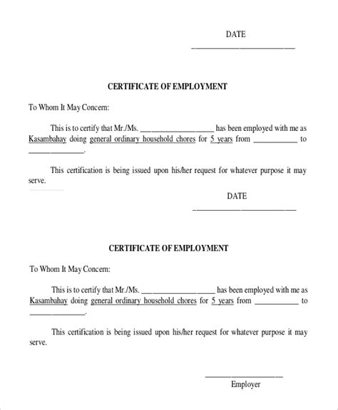 Certificate Of Employment Letter With Compensation 21 Sle Certificate Of Employment Templates Free Sle Exle Format Free