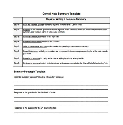 Cornell Business Card Template by Cornell Note Template 17 Free Documents In Pdf