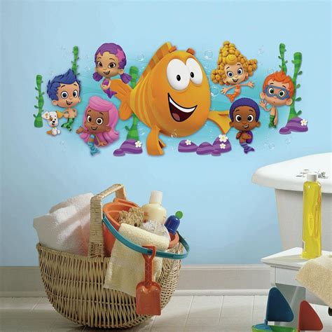 character wall stickers roommates 5 in x 19 in guppies character burst peel and stick wall decal