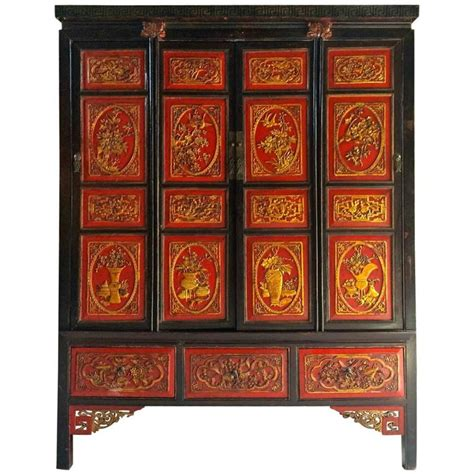 4 Door Armoire Wardrobe Antique Chinoiserie Wardrobe Armoire Lacquered